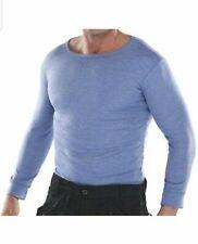 MEN'S THERMAL LONG SLEEVE T-SHIRT BLUE BRUSHED POLYCOTTON RIBBED CREW SIZE XLARG
