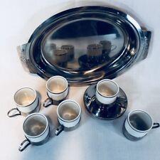 Set Veracruz Demitasse Espresso 6 cup 6 saucer 6 holders Tray Silverplated 19pc