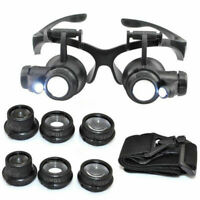 8 Lens Magnifier Magnifying Eye Glass Jeweler Watch Repair Loupe W/ LED Light RY