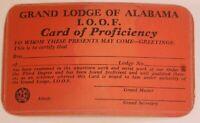 Vintage Grand Lodge Of Alabama I.O.O.F. Card Of Proficiency