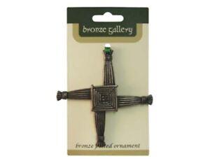 St Brigid Cross Celtic Ornament Bronze Plated Wall Hanging Irish Decor 3.7 x 3.7