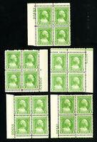 US Stamps # 704 VF Lot of 5 PB of 4 OG NH