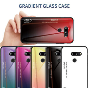 For LG G5 G6 G8 ThinQ Shockproof Gradient Tempered Glass Hard Back Case Cover