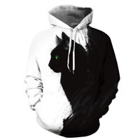 Hipster Black and White Gothic Kitty Cats Men Women Pullover Hoodie Shirt Jacket