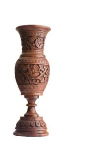 Wooden Handmade Vase Hand Carved Carving Vintage Vase Home Decoration