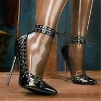UK Women Stilettos High heel Ankle Strap Shoes Pointy Toe Fashion Nightclub Pump