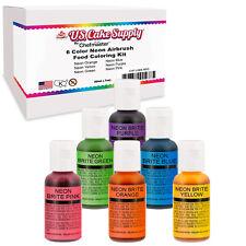 6 Color Cake Food Coloring Liqua-Gel Neon Set .75 fl. Oz. (20ml) Bottles