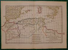 1781 DATED RIGOBERT BONNE MAP ANCIENT ALGERIA TRIPOLI TUNISIA FEZ HAND COLOUR