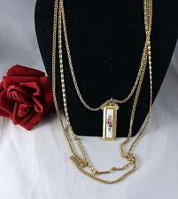Vintage Goldette 3 STrand Gold tone Chain Floral Necklace  CAT RESCUE