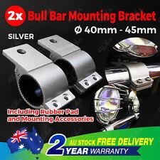 Pair 1.6'' Bullbar Mounting Bracket Clamp Silver 40 45mm LED Work Light Bar UHF