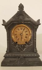 Antique Working Victorian TERRY Clock Co. Gothic Cast Metal Mantel Clock c.1868