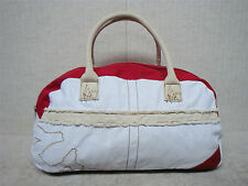 TRUE RELIGION - Overnight Weekender Carry On Travel Duffle Gym Bag-White & Red