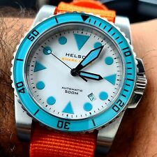 SOLD OUT Helson Shark Diver 45 SS White Dial Blue Lume Sapphire Bezel Watch