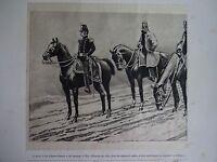 "Great B/W Print-""GENERAL & STAFF OFFICERS, 1851"" by William Walton, 1890 by G.B."