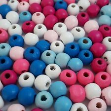 100pcs Blue, Pink & White Wooden Round Beads Jewellery Crafts 10x9mm - B0098302