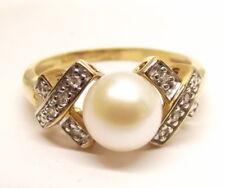 Vtg 10K Gold Cultured Pearl Diamond Ring Sz 6.75 XOXO .08 TCW Carat 7.2mm