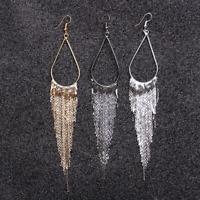 Fashion Women Water Drop Shaped Metal Chain Tassel Dangle Ear Hook Earrings Gift