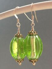 Vintage Green & Silver Foil Melon Uranium Glass 14ct Rolled Gold Earrings