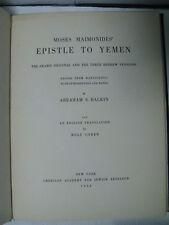 Epistle To Yemen Iggeret Taiman Maimonides Arabic Original Abraham Halkin 1952