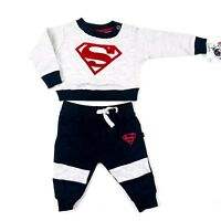 DC Comics Baby Boy Size Newborn Grey Red Pullover and Joggers Set Superman