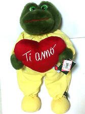 +  MORBIDO PELUCHE cm. 45 CON CUORE TI AMO REGALO S. VALENTINO LOVE RANA