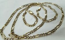 14k two color solid gold diamond cut figaro pave  chain,3mm, 24 inch, italy