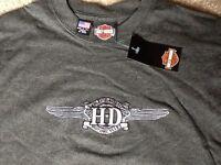 Harley Davidson Embroidered Winged Logo Shirt Nwt Men's Medium