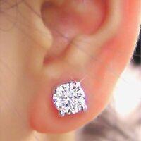Rund Brillantschliff 4.00 Karat Diamant Ohrringe 14K Echt Weißgold Damen Nieten