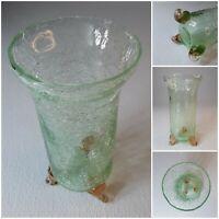 Vintage FOOTED Vase GREEN Crackle Crackled Glass 3 PINK Swirl Feet Spring Flower
