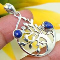 "SOLID 925 STERLING SILVER NATURAL LAPIS LAZULI PENDANT JEWELLERY S 1 1/2"" AP-17"