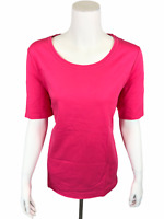 Isaac Mizrahi Women's Essentials Pima Cotton Scoop Neck T-Shirt Pink 1X Size