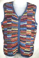 David Brooks Womens Shirt Medium Knitted by Hand Knit Vest Colorful Full Zip