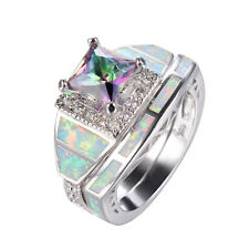 Mystic Rainbow Topaz & Fire Opal Rings Set Silver Plated Wedding Band Size 6-10