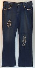 Levis 515 Women's Jeans 12M Bootcut Studded Patched Destroyed Denim