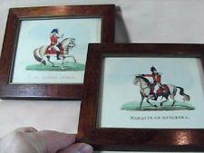 Pair of 1800s Battle Waterloo Hand Painted Prints Lt Gen Picton Lt Gen Angelsea