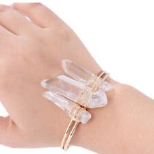 Crystal Gold Cuff Quartz Wire Bracelet Stone Agate Natural Druzy Bangle Edgy