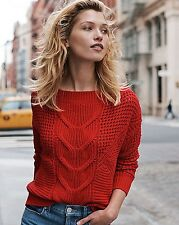 Express Fashion  CABLE KNIT OFF THE SHOULDER SWEATER XS Red NWT