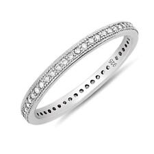 Delicate Silver Channel Eternity Band 2 mm CZ Stackable Bridal Ring 925 Size 8