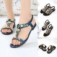 Women Ethnic Sandals Roman Shoes Rhinestone Beading Snake Flat Sandals Shoes