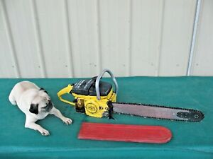 """Vintage Collectible McCulloch MAC 10-10 Automatic Chainsaw with 20"""" Bar (Video)"""