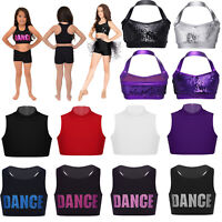 Kids Girls Halter Sequins Crop Bra Tops for Ballet Dance Yoga Gymnastics Party
