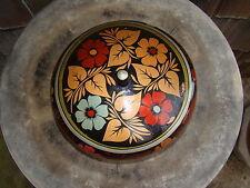 Vtg Black Floral Enamel Lacquer Painted Wood Table Vanity Desk Storage Lid Bowl
