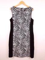 Connected Apparel Womens Dress Sleeveless Zebra Slimming Stretch Size 14 Sheath