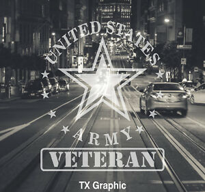 US Army Veteran Decal Military Star Car Truck  Window Wall Boat United Stated