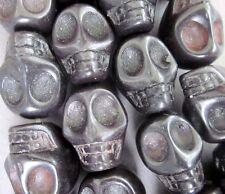 10Pcs Black Howlite Turquoise Skull Beads Finding---18mmx14mm