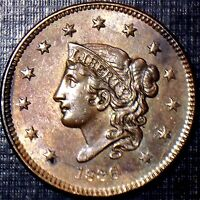 SCARCE 1836 MATRON HEAD CENT R/B BU,MS,MS HIGH GRADE FULL DATE & DETAILS TONING!