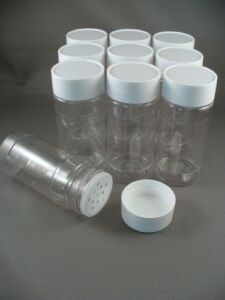 SPICE BOTTLES JARS 4 oz  CLEAR PLASTIC w/Sifter Caps Lot of 10 FREE US SHIP 4oz
