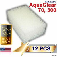 12 Foam Filter Pads For Aqua Clear 70 / 300 AquaClear
