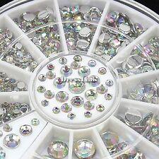 300pcs 12 Griglia Arcobaleno Glitter Strass Perline Nail Art Decorazione Ruota