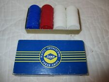 "Vintage Lowe Plastic Interlocking 1.5"" Casino Poker Chips 100 Used Box No. 711"